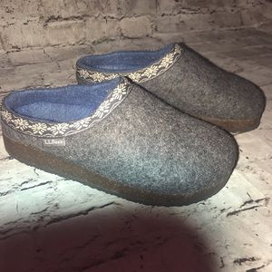LL Bean Wool Clogs Shoes Gray Size 8